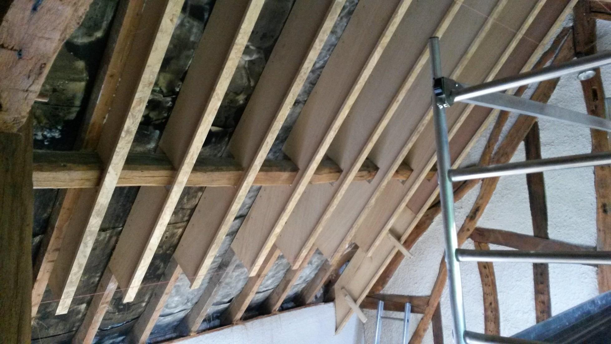 isolation de toiture en ouate de cellulose et fermacell. Black Bedroom Furniture Sets. Home Design Ideas